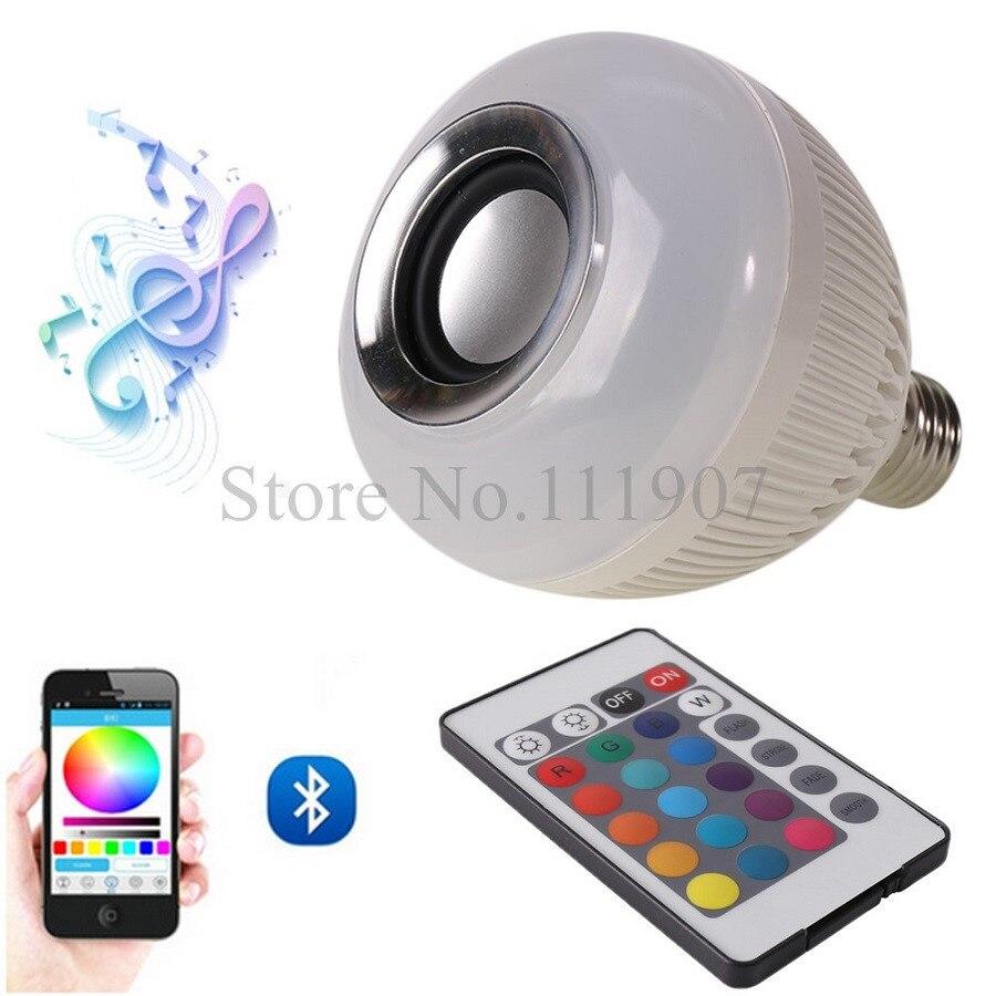 Беспроводная Связь <font><b>Bluetooth</b></font> Динамик Лампа E27 LED RGB Музыка Плеер Smart Sound Box RGB Освещения