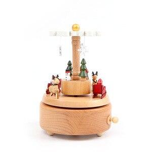 Image 3 - Креативная Музыкальная шкатулка на рождественскую елку, деревянные вращающиеся музыкальные боксы, ремесла, винтажное украшение, детские игрушки, подарок на праздник и день рождения