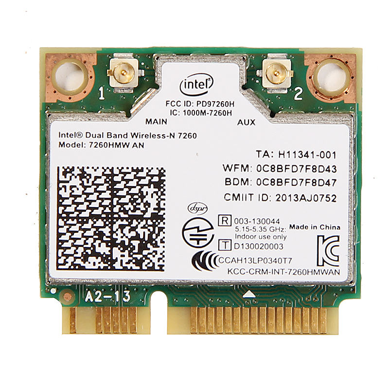 Dual band For Intel Wireless-N 7260 7260HMW AN Half Mini Pci-e 300Mbps Wireless Wifi + Bluetooth 4.0 Notebook Wlan card(China)