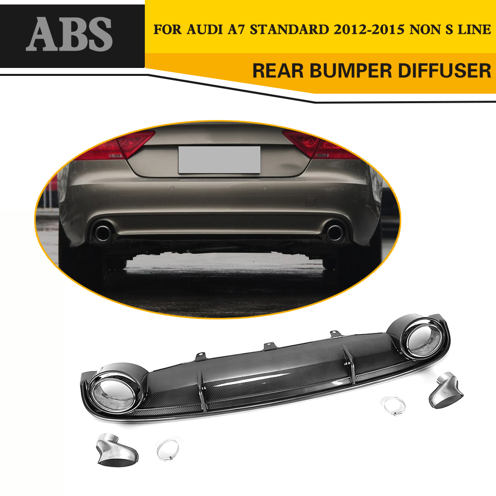 <font><b>Rear</b></font> Bumper Lip <font><b>Diffuser</b></font> with Car Exhaust For <font><b>Audi</b></font> <font><b>A7</b></font> Standard Bumper Only 2012-2015 image
