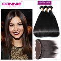 7A Peruvian Straight Hair 3 Bundles With Closure Unprocessed Peruvian Virgin Hair With Closure Natural Human Hair With Closure