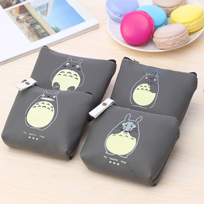 New Unisex PU Leather Cute Totoro Zipper Coin Purse For Kids Small Women Coin Wallet Pouch Girls' Kawaii Animal Card Key Bag new cat purse pu leather zipper wallet women coins purses cute carrot watermelon hand holding coin bag with key ring pouch