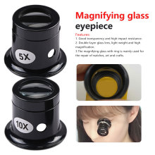 1pcs 5X 10X Monocular Magnifying Glass Loupe Lens Jeweler Watch Magnifier Tool Eye Magnifier Len Repair Kit Tool цена