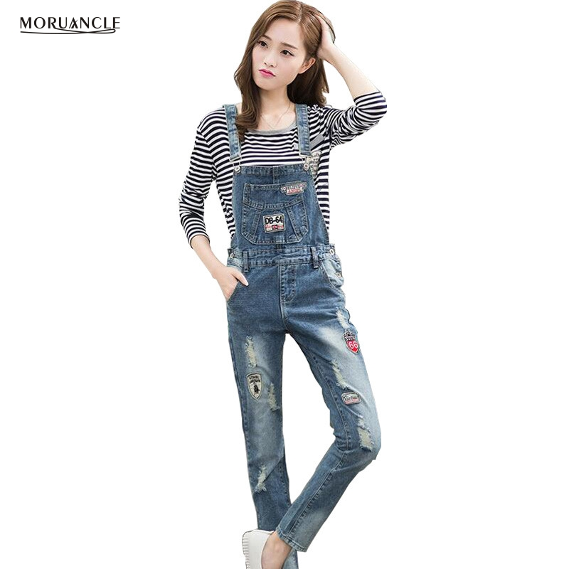 MORUANCLE Fashion Womens Ripped Denim Jumpsuit With Patches Female Distressed Jeans Overalls Suspender Pants Rompers For Lady new fashion suspender jeans overalls trousers denim female straight dark blue washed women pants jumpersuit rompers