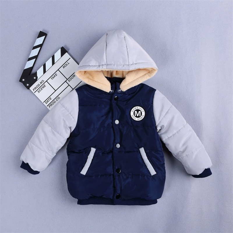 Boys Girls Outwear Children Thick Warm Snowsuit With Hat Clothing Hooded Snow Wear Fight Color Baby Cotton Fashion Winter Coat winter baby snowsuit baby boys girls rompers infant jumpsuit toddler hooded clothes thicken down coat outwear coverall snow wear