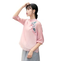 Shanghai Story New Sale traditional chinese tops 3/4 Sleeve cheongsam top traditional Chinese Linen Top Linen blouse top