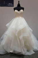 BRITNRY Real Pictures Ball Gown Bridal Dress Sweetheart Lace Up Ruffles Tiered White Ivory Princess Wedding Dresses