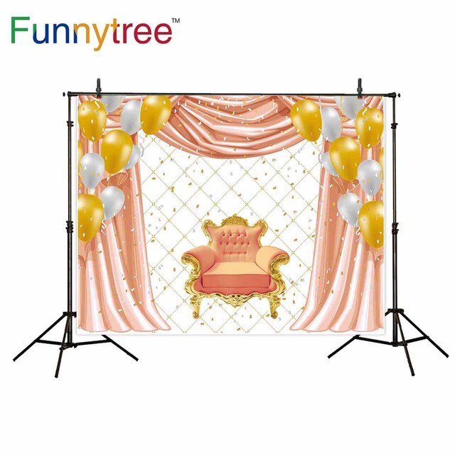 Funnytree Background For Photo Studio Princess Birthday Balloon Armchair  Luxurious Backdrop Photographic Photocall Prop