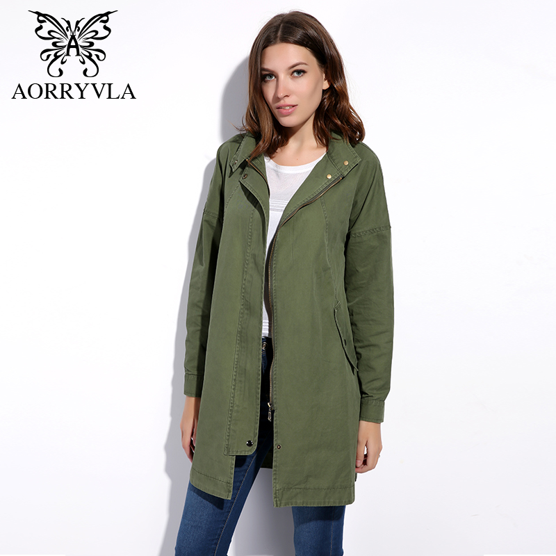 AORRYVLA New Casual Trench Coat For Women Autumn 2017 Army Green Cotton Pockets Long Coat European
