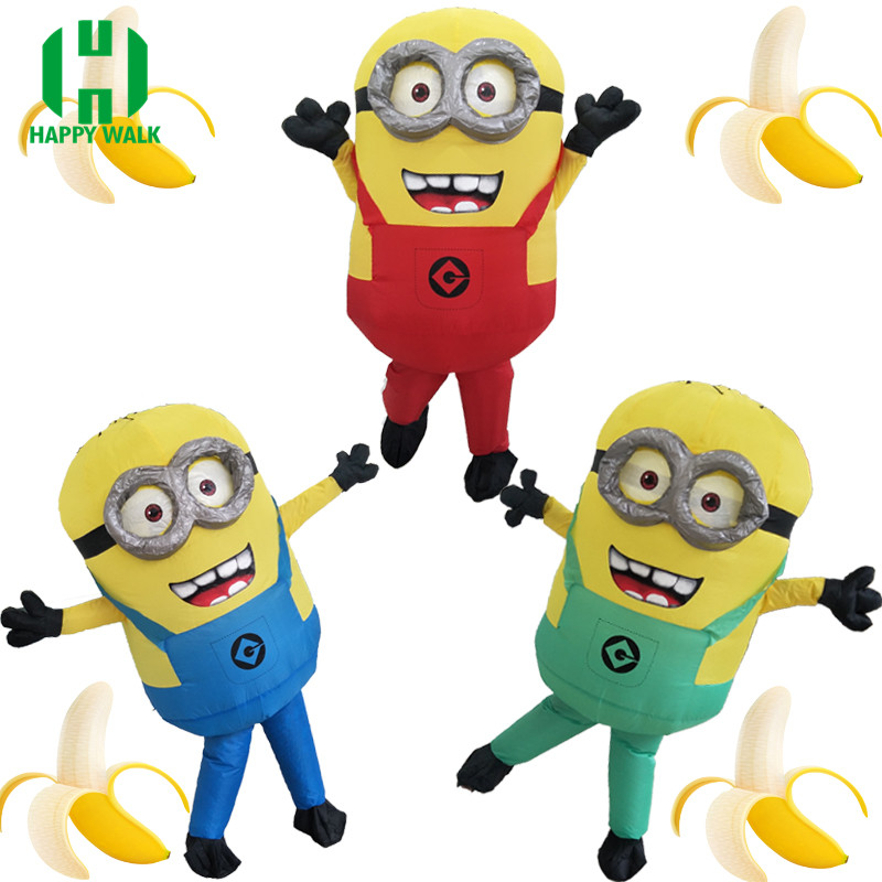 Halloween Cosplay Party Costume Adult Minion Inflatable Despicable Minion Costume Mascot 1.5-1.85m Minion Inflatable Costume