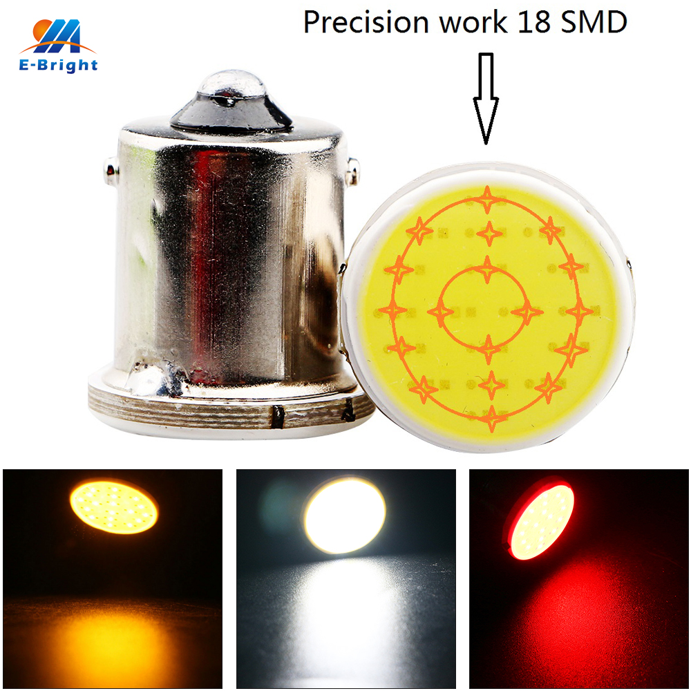 YM E Bright 300Pieces/lot S25 COB 18 SMD 18 Led 1156 BA15S P21W Turn Signal LED Car Lights Tail Rear  White Yellow Red 12V DC-in Signal Lamp from Automobiles & Motorcycles    1