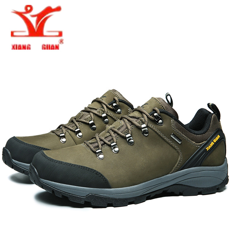 XIANGGUAN hiking shoes 2017 man Cattlehide waterproof Anti-skid breathable men outdoor climbing walking Sneakers EUR Size 39-45 merrto men s outdoor cowhide hiking shoe multi fundtion waterproof anti skid walking sneakers wear resistance sport camping shoe