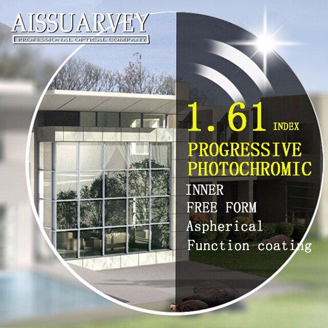 1.61 asp свободной форме прогрессивные фотохромные линзы рецепту оптические линзы очки широкий видение защиты тонкий серый бифокальные