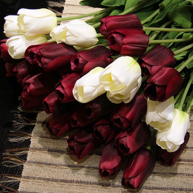 Artificial Tulip Wedding Bouquets : Pcs lot colors silk tulip wedding bouquet artificial