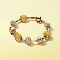 Летние блестящие украшения золотой Цвет лимон тему Европейской Стиль DIY Шарм 925 серебряный браслет