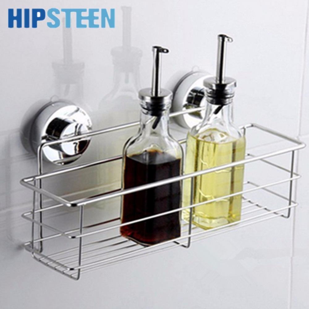 Bathroom wall storage baskets - Hipsteen Bathroom Storage Basket Holder Shelf Spice Gripper Jar Rack Washroom Organizer With Sucker Bathroom Kitchen Storage