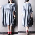 2016 female new summer berief solid color plus size  casual asymmetrical bat sleeve dress