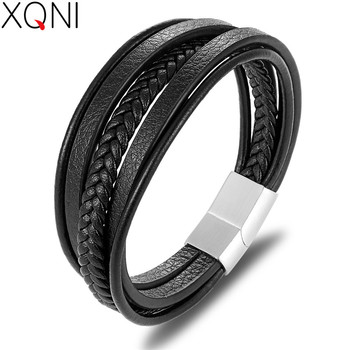 XQNI 19/21/23CM Genuine Leather Bracelet Black & Brown Color with Stainless Steel Buckle Easy Hook Bangle For Cool Boys Gift 1