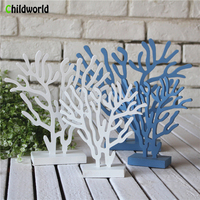 3 Pieces Nautical Home Decor Mediterranean Wood Sculpture Coral Tree Ornaments Furnishings Home Decoration Accessories