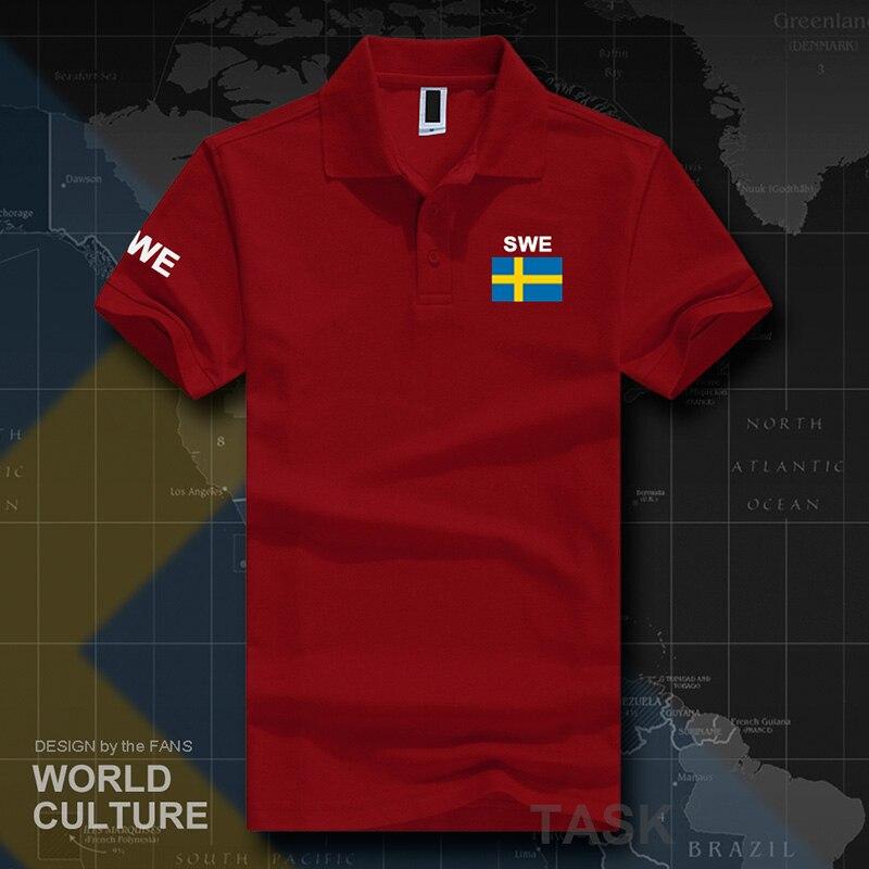 Sweden Sverige Swedish Swede   polo   shirts men short sleeve white brands printed for country 2017 cotton nation team flag new SE