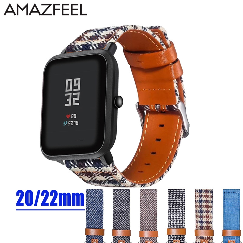Watch Band For Amazfit Bip Strap Leather Cloth Bracelet For Huami Amazfit Pace Stratos 2 Wrist Strap For Amazfit Gtr 47mm 42mm