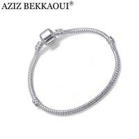 5PCS LOT Wholesale Fashion Women European 925 Silver Snake Chain Screw Bracelets Fits For DIY Beads