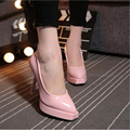 New spring new women shoes waterproof high-heeled pointed shallow mouth singles shoes beige and pink