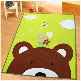 Green Bedside Rugs Brown Bear Head Theme Kids Carpet 39x51 Inches Cartoon Animal Carpet Baby Mat Baby Crawling Pad