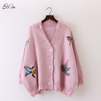 HSA 2017 Spring Cardigans For Women Knitted Birds Embroidery Poncho Sweaters Cardigans Casual Streetear Oversized Long