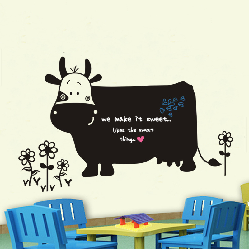 60x130cm Sund Vinyl Dejlig Cow Blackboard Whiteboard Pen Kridt Board Wall Stickers Tegneserie Dyreindretning Mural til Kids Room