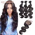 7A Malaysian Body Wave With Closure Free Middle Three Part Closure With Bundles Body Wave Human Hair Extensions Virgin Hair