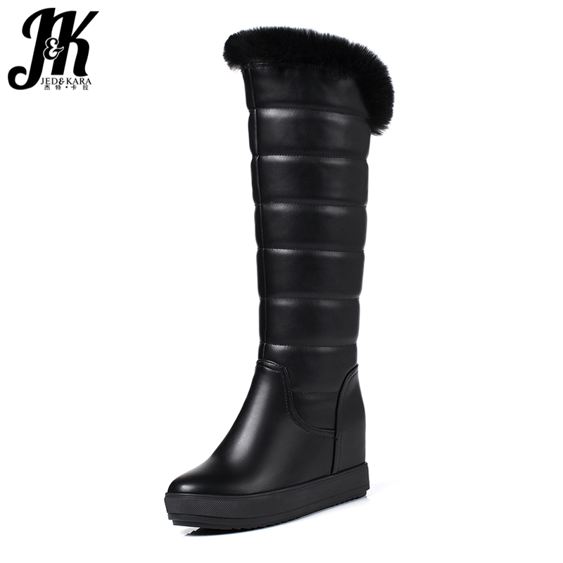 J&K 2018 Ladies Keep Warm Winter Boots Thick Plush Knee High Boots Height Increasing Platform Snow Boots Rabbit Fur Shoes Woman