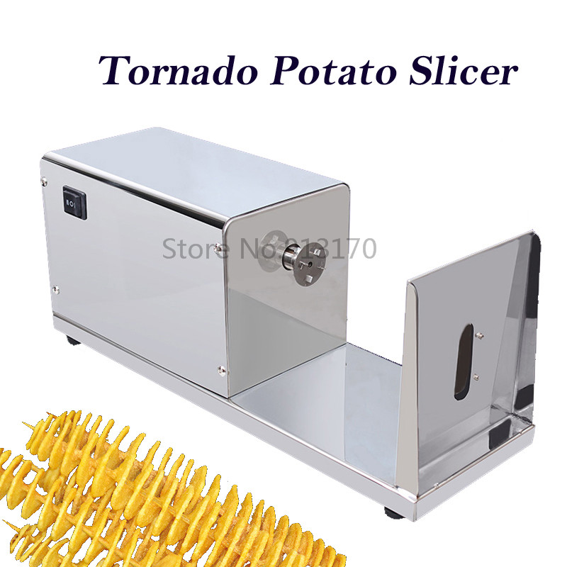Electric Automatic Tornado Potato Slicer Spiral Potato Machine Cutter Stainless Steel 220V50Hz specs stainless steel automatic tornado potato cutter electric spiral potato slicers potato chips making machine zf