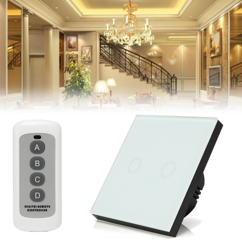 AC110V-240V Wall lamp Crystal Control Dome light Glass Panel Smart Light Wall Switch Remote Controller White/Black/Gold