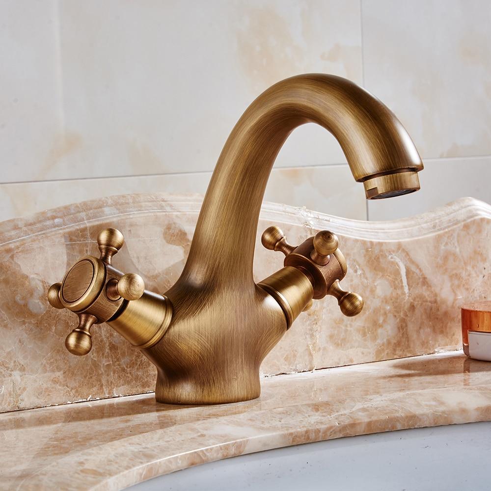 Bathroom sink faucet antique brass basin mixer tap double - Antique brass faucets for bathroom ...