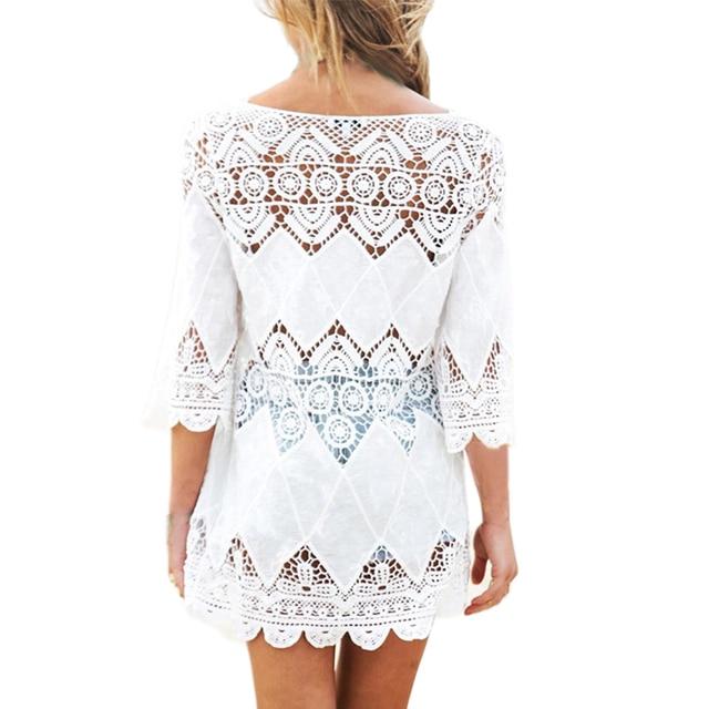 New Summer Swimsuit Lace Hollow Crochet Beach Bikini Cover Up 3/4 Sleeve Women Tops Swimwear Beach Dress White Beach Tunic Shirt 2