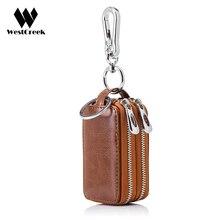 Westcreek бренд ретро Автомобильный держатель для ключей ключница из натуральной коровьей кожи на двойной молнии площадь дома ключ чехол с прозрачным окном