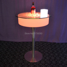 Remote control Modern Plastic bar pub illuminated led cocktail coffee table rechargeable colorful Table basse lumineuse