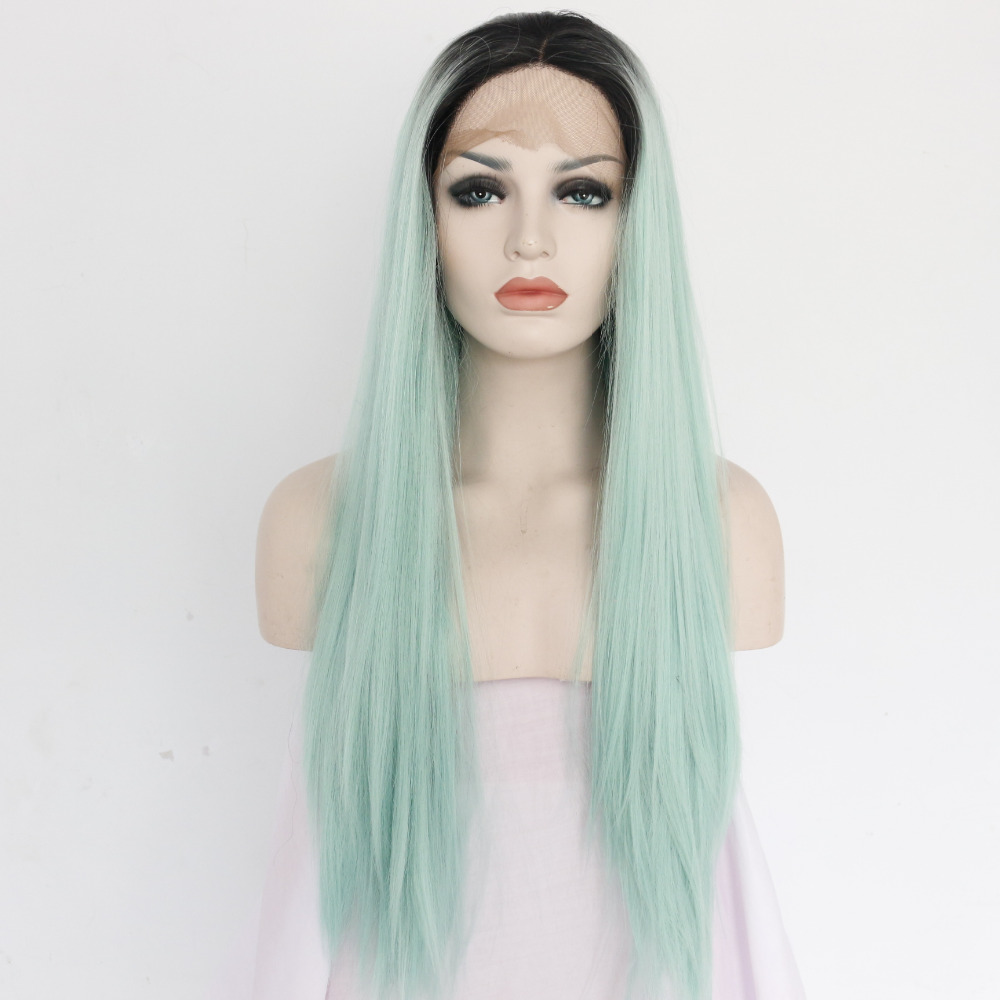 Fashion Mint Long Straight Synthetic Lace Front Wig Glueless Twotone
