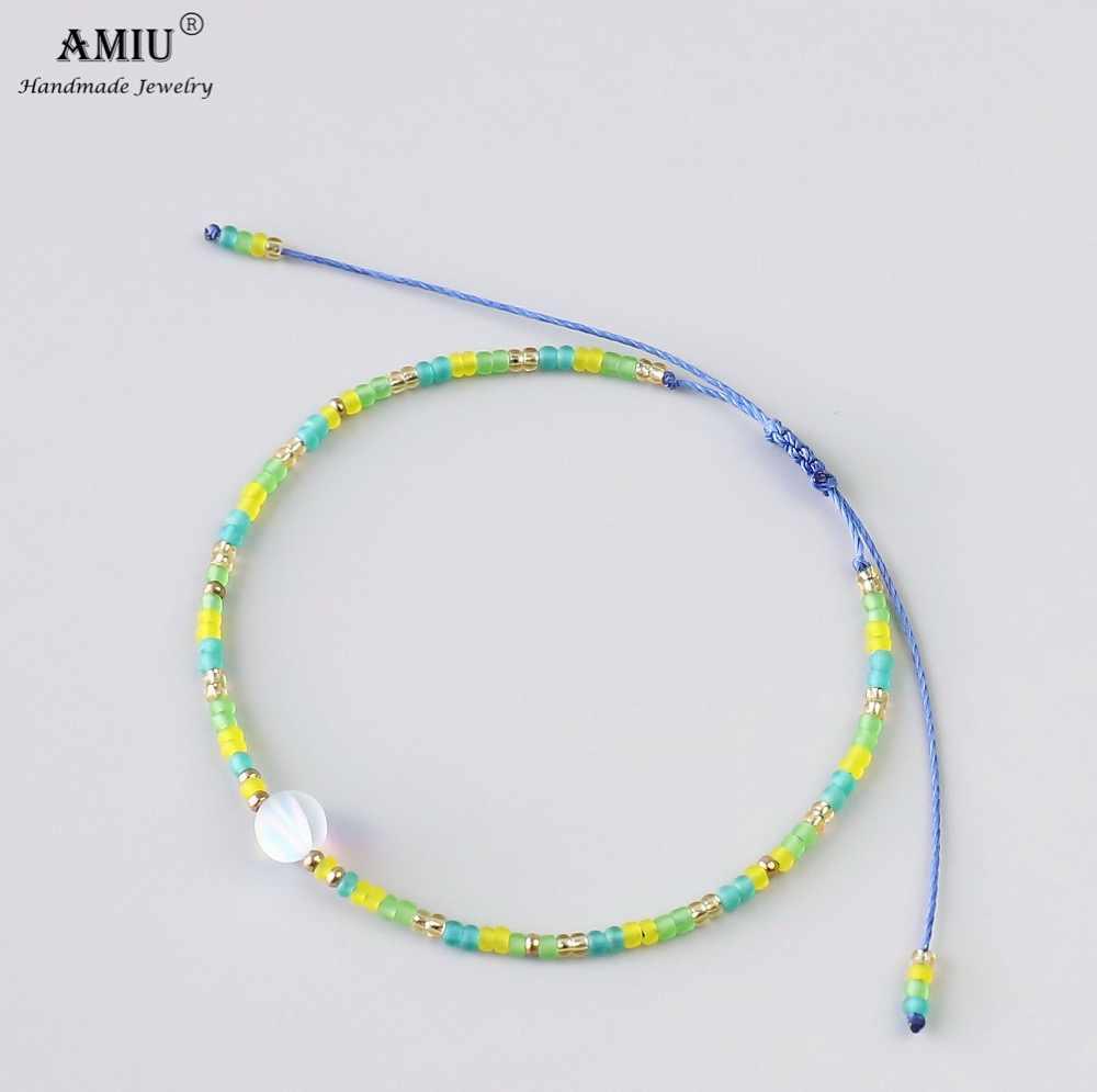AMIU de pulsera de cristal Simple pulsera de hilo de cera Natural Cristal de Bohemia a suerte como regalo pulseras