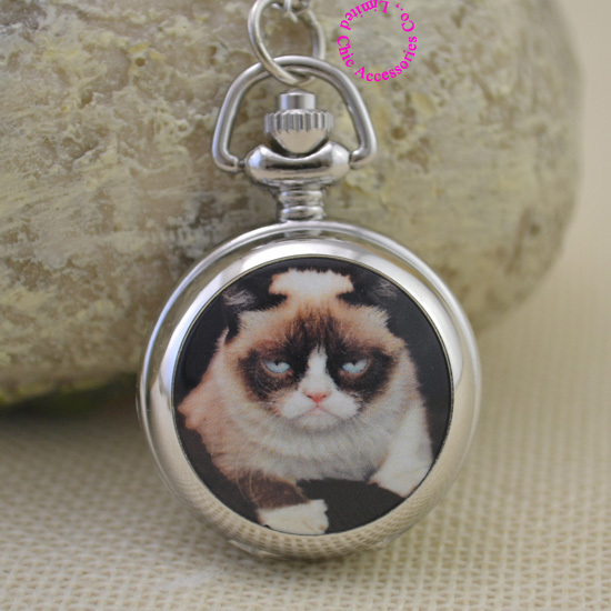silver funny cute cartoon picture Grumpy Cat fob pocket watch necklace women fun girl lady child new fashion antibrittle gift funny fishing game family child interactive fun desktop toy