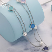 925 Sterling Silver Pearl Long Necklaces for Women Wedding Jewelry 2018 New Fine Jewelry Necklaces & Pendant