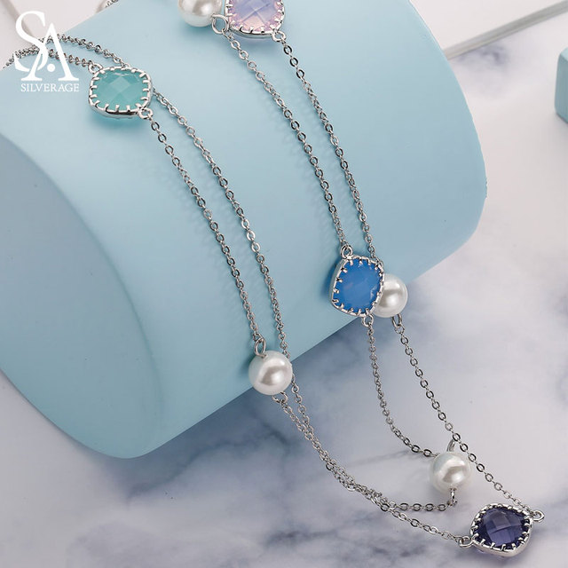 925 Sterling Silver Pearl Long Necklaces for Women Wedding Jewelry 2018 New Fine