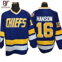 BONJEAN barato vintage Jack Hanson 16 Charlestown hielo Camisetas de hockey cosido mejor para el desgaste del deporte del hielo del invierno