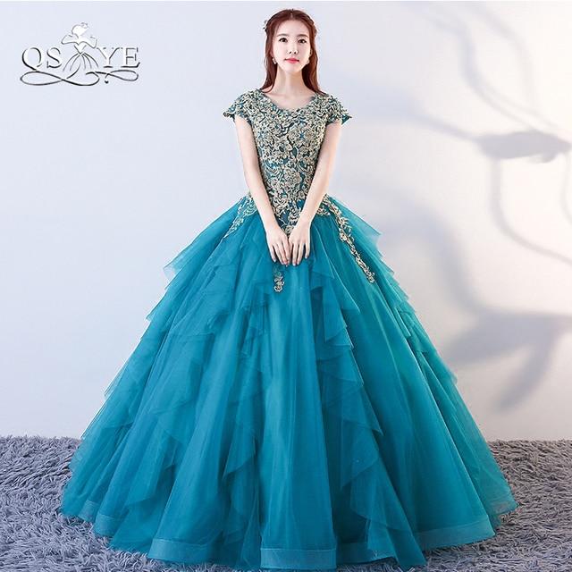 Qsyye 2018 Navy Blue Vestido Longo Ball Gown Prom Dress Gold Lace