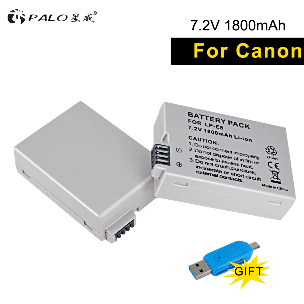 PALO 2 unids LP-E8 Paquete de batería LP-E8 Lp E8 para Canon EOS 550D 600D 650D 700D X4 X5 X6i X7i T2i T3i T4i T5i DSLR Cámara