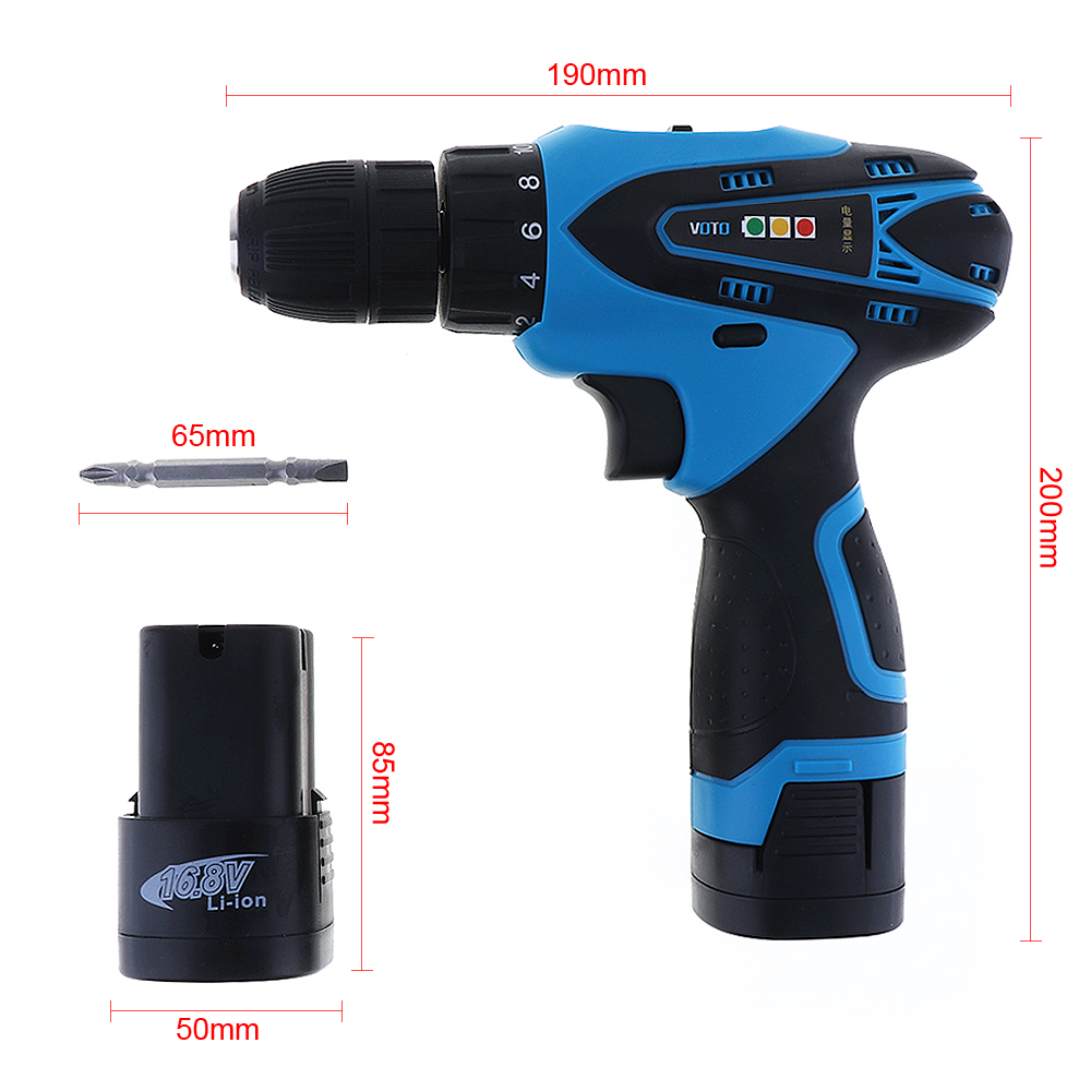 16.8V Electric Screwdriver Cordless Electric Drill Multi-function Double Speed Rechargeable Lithium Battery-powered Power Tools 12v 1300rpm electric screwdriver li battery rechargeable multi function 2 speed cordless electric drill power tools box