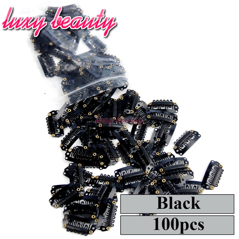Snap Clip 2.8cm 100pcs For Hair Extensions Wig Clips Hairpins Black Clips For Weft weaving Hair Closure Clips Brown Blonde