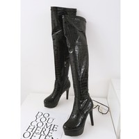Big Size 9 10 11 15 thigh high boots knee high boots over the knee boots boots women ladies boots Serpentine side zipper