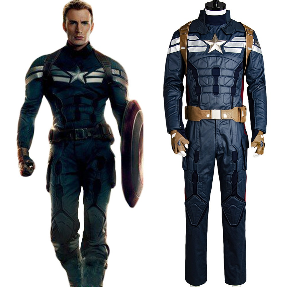 Halloween Adult Captain America 2 Costumes Cosplay The Winter Soldier Steve Rogers Uniform Outfit Cosplay Costume Full Sets